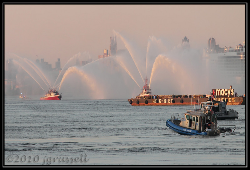 Fire boats and barge