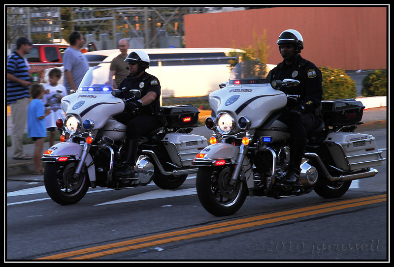 Leading the racers out were two motorcycle officers.
