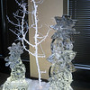snowflakes, snowflakes, snowflakes. Beautiful room filled with lots of ice sculpture snowflakes for a corporate event at the Hyatt in Denver.