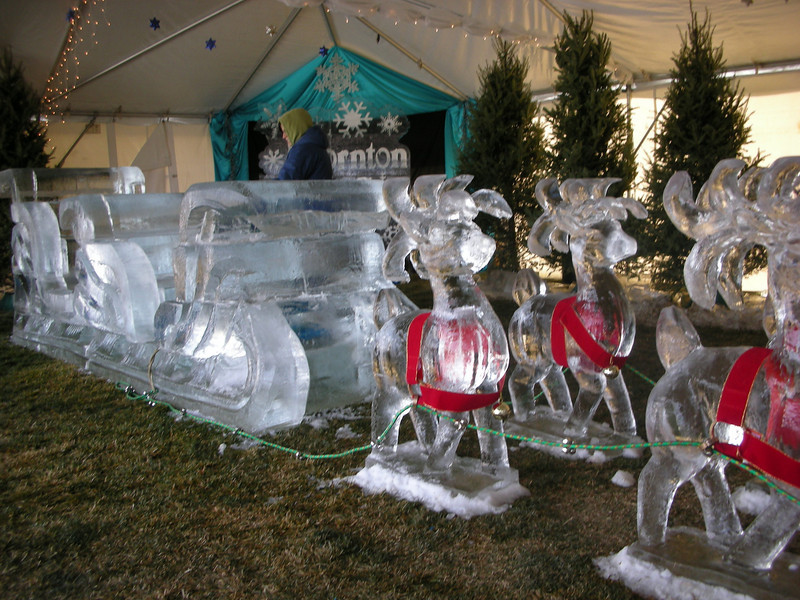 Large Santa Sleigh with 9 reindeer. Yes, Rudolph had a red nose! For Thornton Winterfest