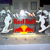 Red Bull ice Sculpture with ski and snowboard theme
