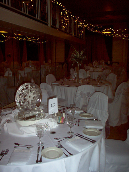 Wedding with snowflake Ice Centerpieces in Denver