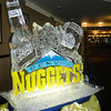 Denver Nuggets logo Ice Sculpture with Coors Light bottle and can at the Pepsi Center in Denver Colorado