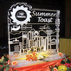 Summer Toast Summer Party in Denver Colorado. 2 block Ice Sculpture with corporate logos of presenters.