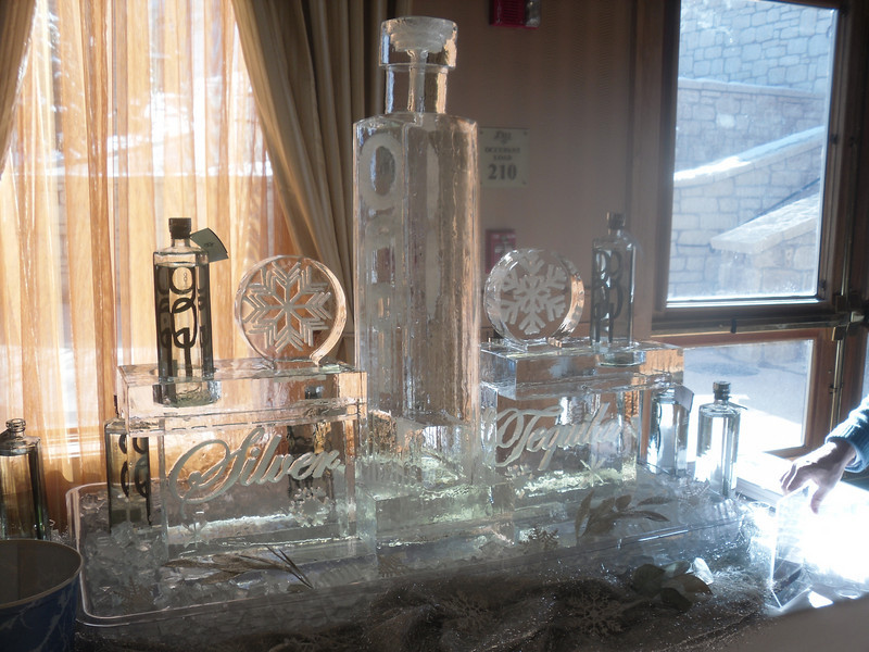 901 Silver Tequila Bottle Ice Luge with Snowflake design and bottle displays