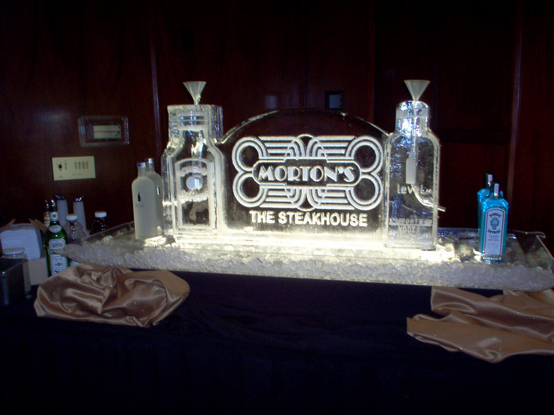 Level Vodka and Bombay Gin Ice Luges with Morton's Steakhouse logo
