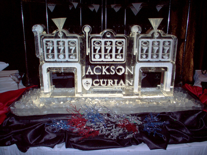 Jackson Curian Logo with Casino themed Ice Luge with dual hoses and funnels
