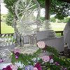 Garden theme ice luge with monogram