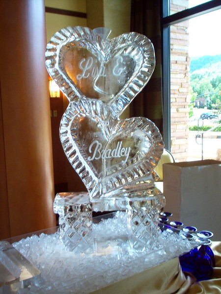 Stacked Hearts 3-d Ice Luge with coil hose froze in ice