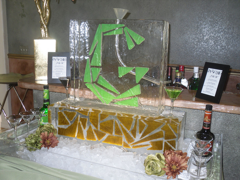 Custom designed Mosaic G Ice Luge for Wedding. Design matched Wedding Announcements