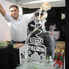 Patron Tequila Bottle luge with coil frozen in ice