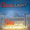 Coors Light colored logo with dispensers hooked up to kegs for serving Cold Coors Light Beer....they went through 17 kegs that night!