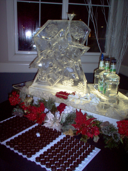 3-d Snowflake ice luge with ice bottle holder