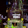 Absolute Pears Vodka ice luge with coil hose frozen in ice