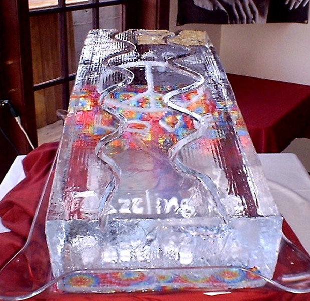 full block college luge with items frozen in ice