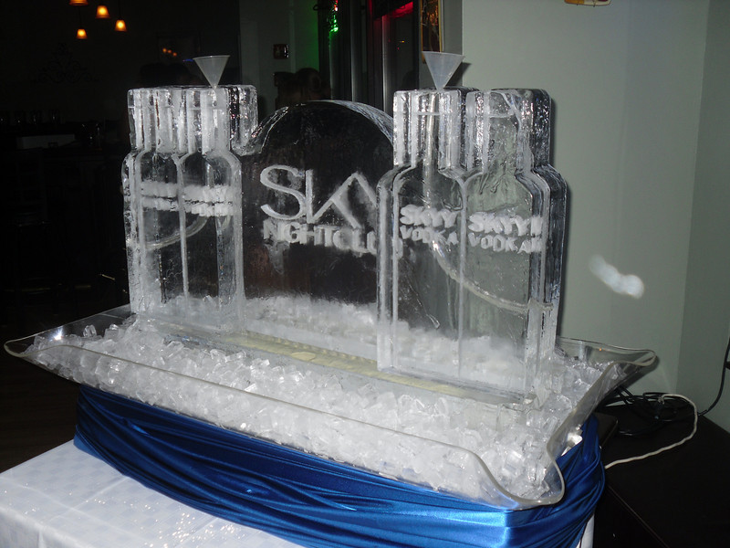 Skyy Vodka Bottles double Luge with Sky Nightclub logo