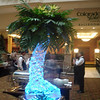 Palm Tree Vase Ice Sculpture on rotating tray