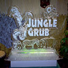 Jungle Grub themed ice sculpture with 2-d animals