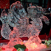 Double Block Dragon with wings with red gel on light under ice sculpture