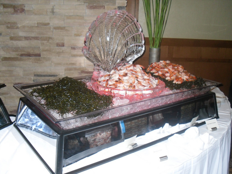 Clam Shell ice sculpture for shrimp display