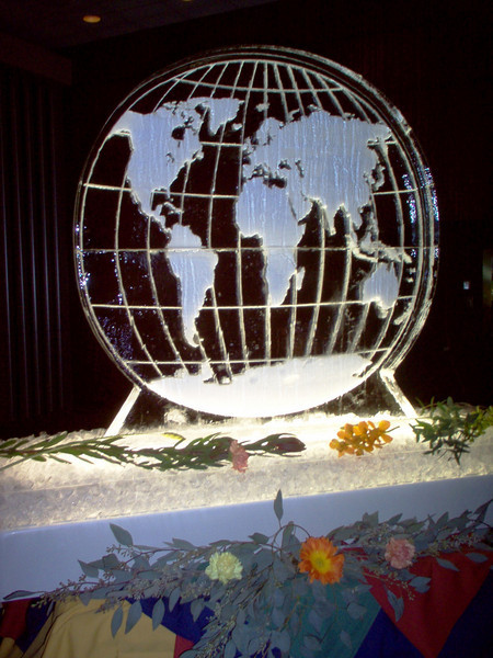 Double block ice sculpture of the World