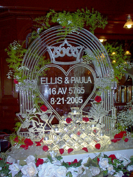 Custom designed ice sculpture for Bride with custom religious and ethnic symbols important to their families