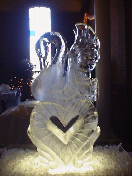 Swan over Heart Ice Sculpture