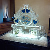 Custom hearts and monogram Ice Sculpture Luge
