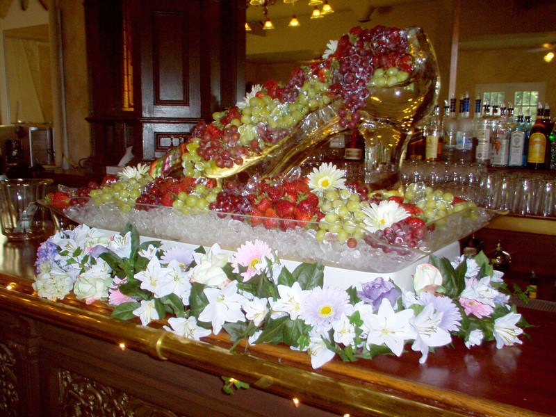 Glass Slipper Ice sculpture with fresh fruit