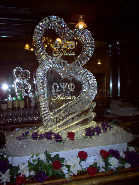 Stacked closed Hearts with Names Ice Sculpture