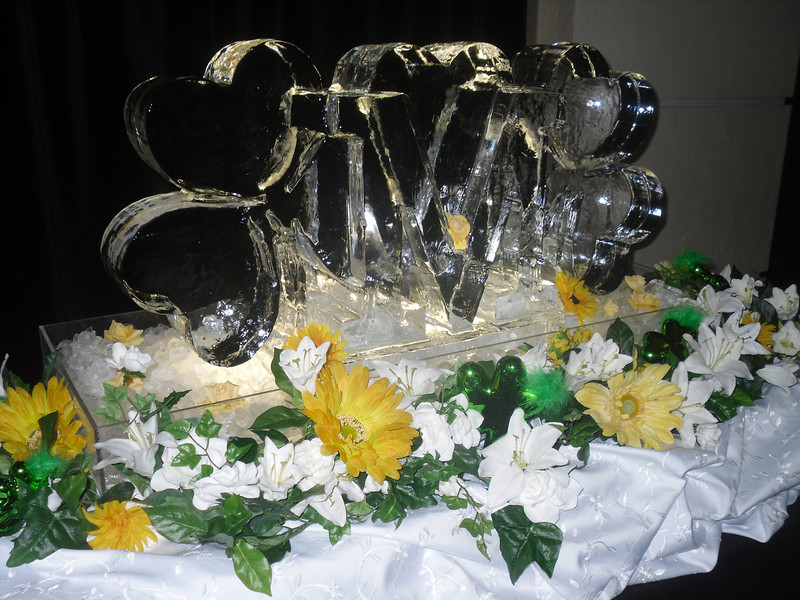 Custom M with Shamrocks Ice Sculpture