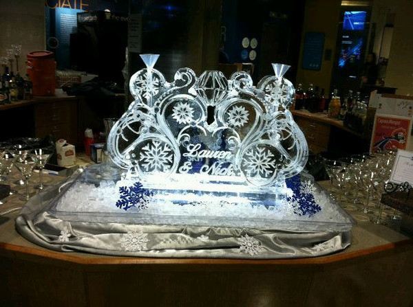 Snowflakes and Swirl Ice Sculpture luge with names