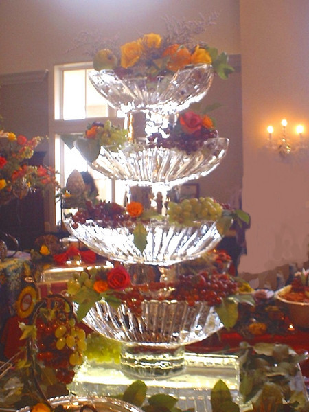 Stacked fountain Ice Sculpture for serving fresh fruit or seafood