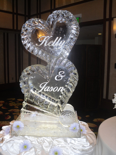 Stacked closed Heart Ice Sculpture with names