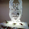 Love Birds over Heart Ice Sculpture with names
