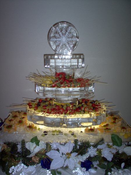 3 tiered round serving trays with snowflake topper Ice Sculpture for chocolate fountain