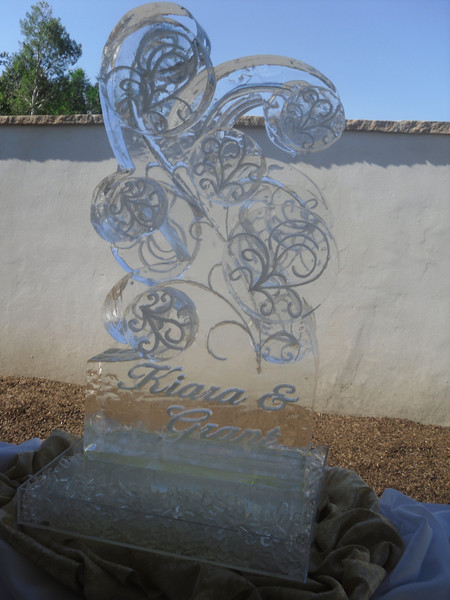 Celebrations Swirls Ice Sculpture with names