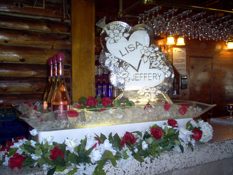 Double Hearts Ice Sculpture Luge with names