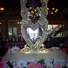Love Birds over heart Ice Sculpture