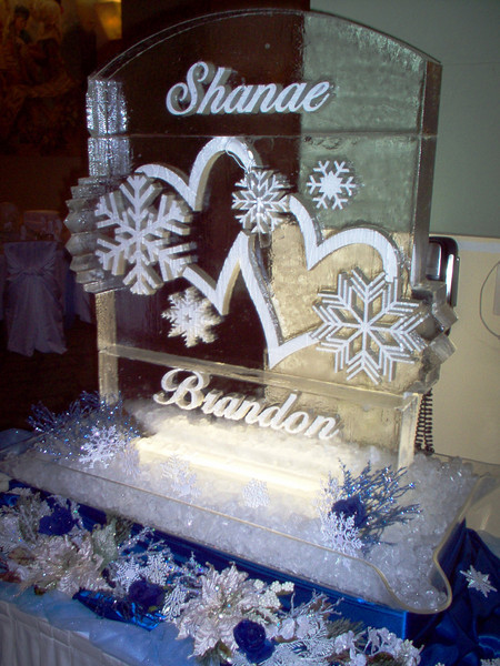 Custom Hearts and Snowflakes Ice Sculpture with Names