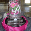 Encased flowers Table Centerpiece Ice Sculpture with glass diamond on top