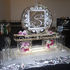 Custom monogram from Wedding Invitation Ice Sculpture with flowers in ice base