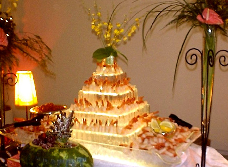 Wedding cake ice sculpture for serving shrimp
