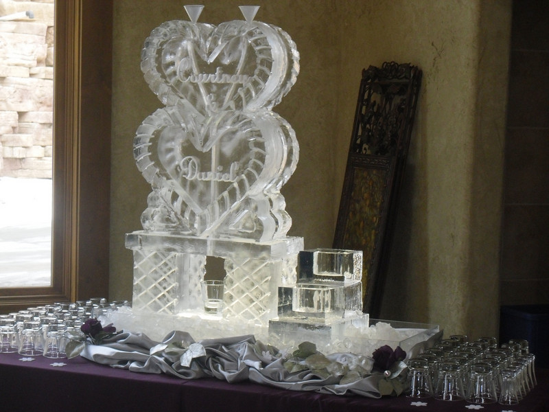 Stacked Hearts Ice sculpture luge with names and ice bottle holder