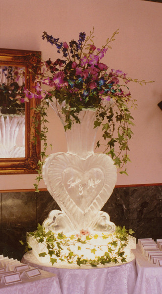 Heart Shaped vase Ice Sculpture with names