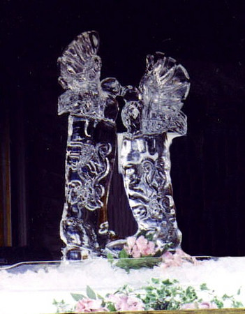 Love Birds on Cowboy Boots Ice Sculpture