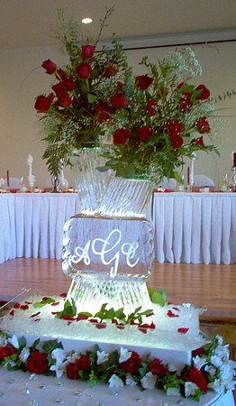 Modern Vase with split top and monogram Ice Sculpture