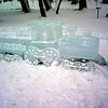 Train ice sculpture during the day in Loveland Colorado