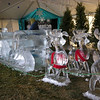 Double seat Sleigh and 9 reindeer for Colorado Ice Festival.Large logo for pictures in background