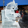 A dragon Ice Sculpture in the making
